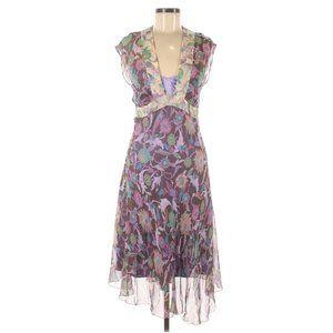Diane von Furstenberg Y2K Silk Purple Floral Dress